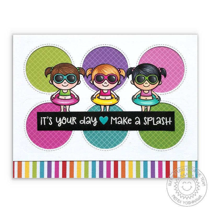 Sunny Studio Beach Babies Make A Splash Card using Classic Gingham 6x6 Patterned Paper