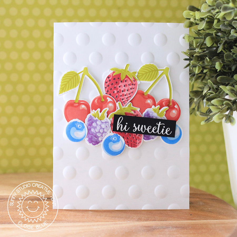 Sunny Studio Stamps Berry Bliss Fruit Salad Embossed Polka-dot Card