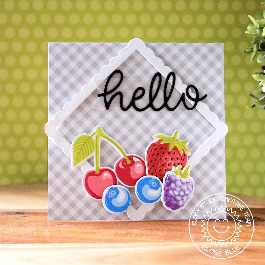 Sunny Studio Stamps Strawberries, Cherries & Blueberries Hello Card featuring Berry Bliss Set
