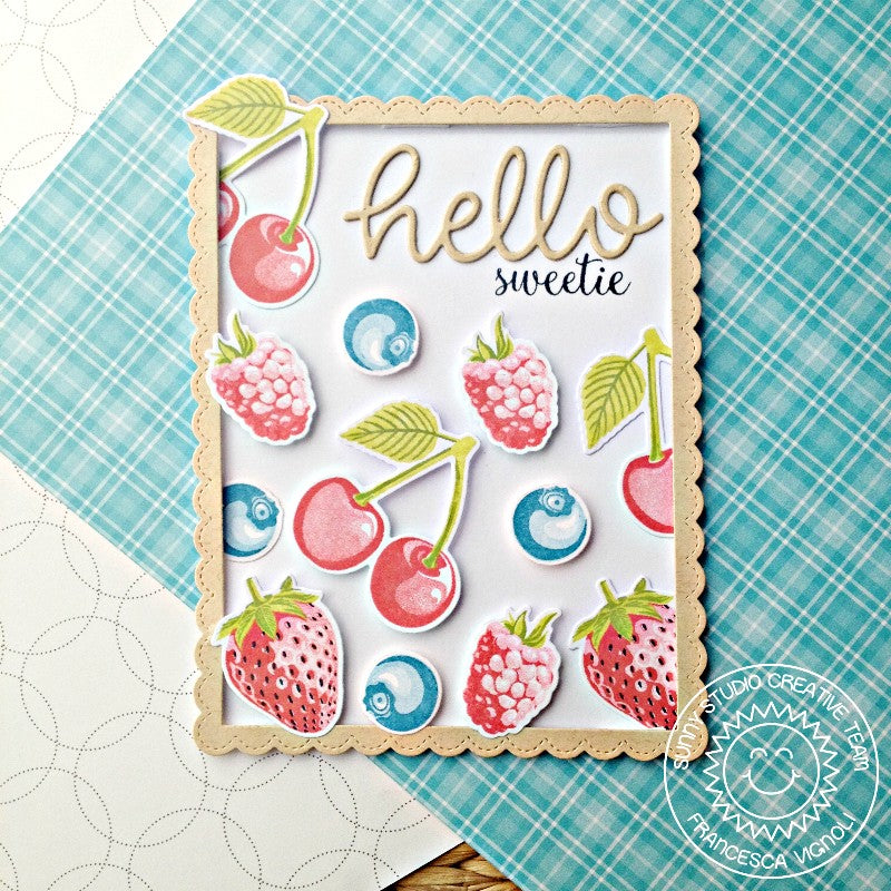 Sunny Studio Stamps Berry Bliss Cherries, Blueberries, Raspberries and Strawberries Pastel Card by Franci