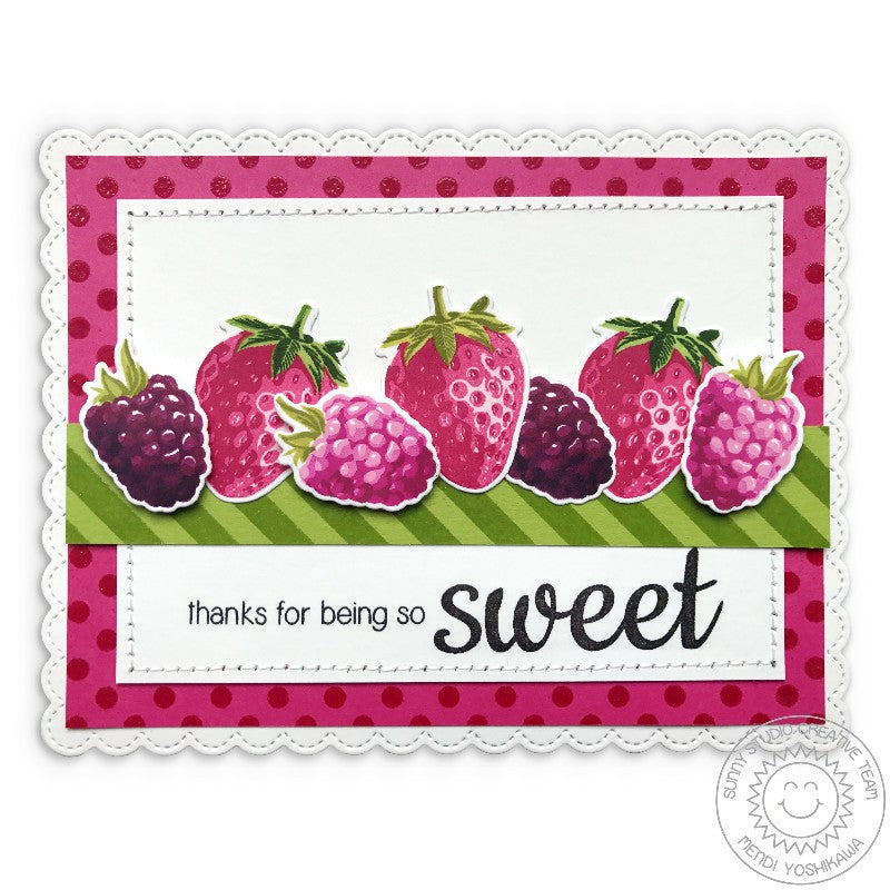 Sunny Studio Stamps Berry Bliss Thanks for Being So Sweet Strawberry, Boysenberry & Strawberry Card using Color Layering Stamps