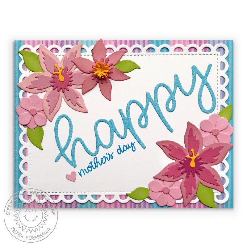Sunny Studio Stamps Floral & Pastel Striped Mother's Day Card (using Dots & Stripes Pastels 6x6 Patterned Paper Pack)