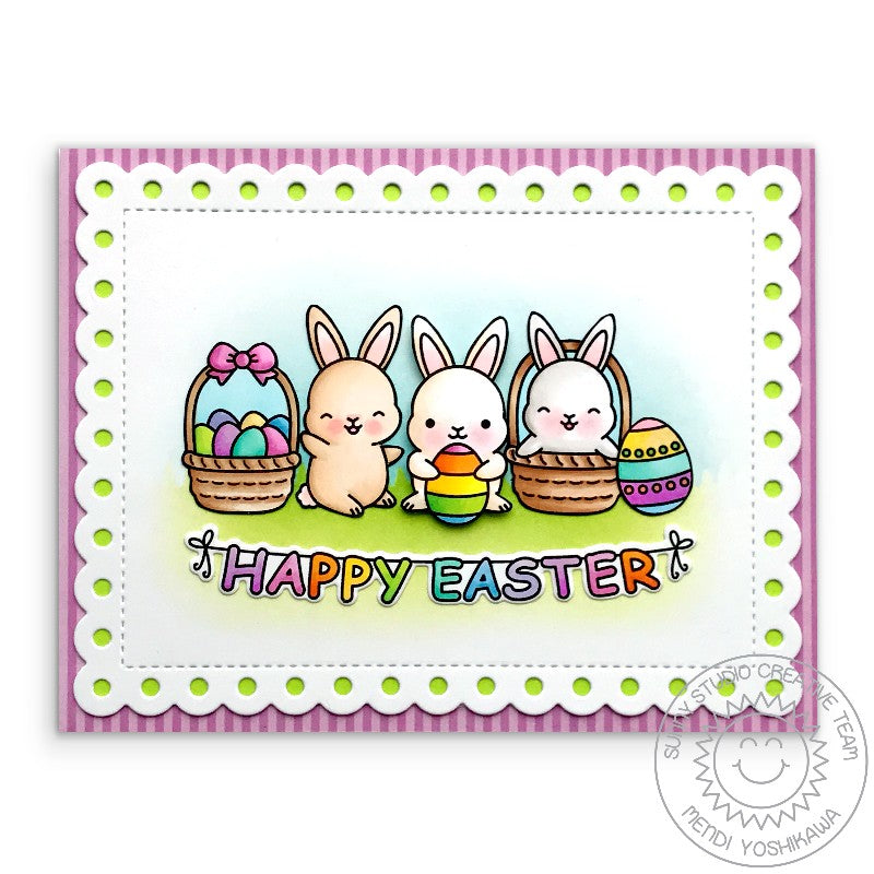 Sunny Studio Stamps Happy Easter Bunny Card (using Dots & Stripes Pastels 6x6 Patterned Paper Pack)