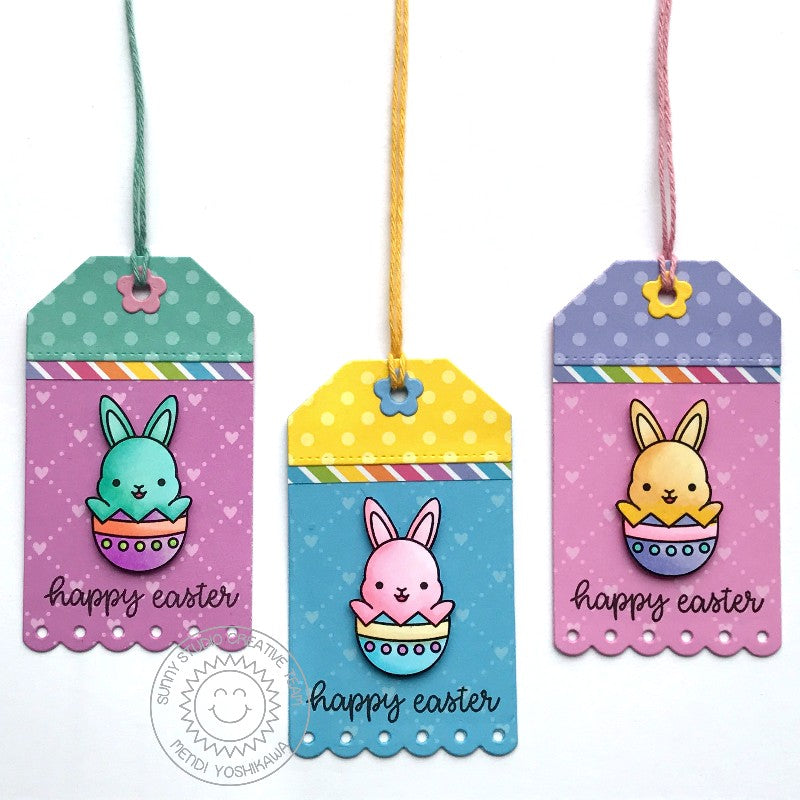 Sunny Studio Stamps Easter Bunny Gift tags (using Dots & Stripes Pastels 6x6 Patterned Paper Pack)