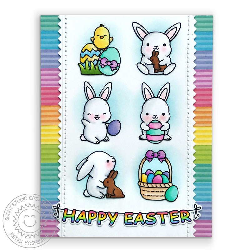 Sunny Studio Stamps Rainbow Striped Easter Bunny Card (using Dots & Stripes Pastels 6x6 Patterned Paper Pack)