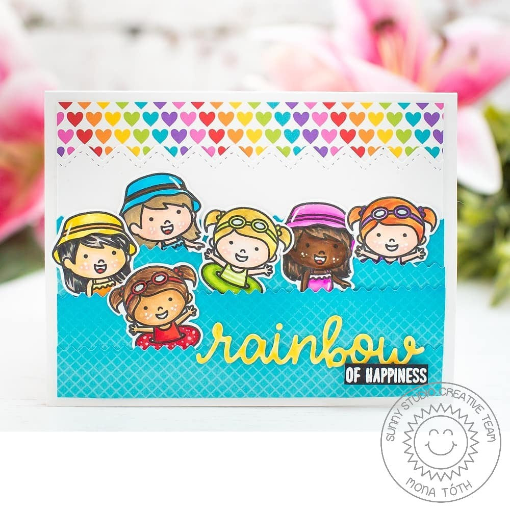 Sunny Studio Stamps Coastal Cuties Rainbow Swim Card by Mona Toth