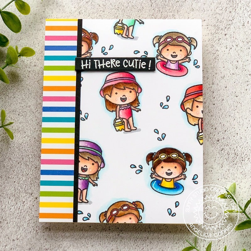 Sunny Studio Stamps Coastal Cuties Rainbow Striped Beach Card by Angelica Conrad
