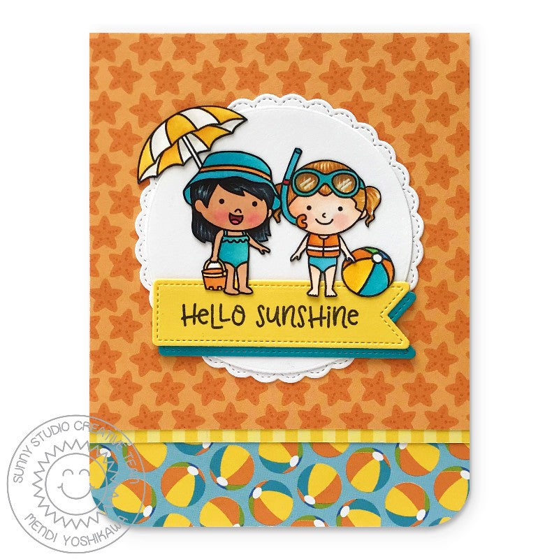 Sunny Studio Stamps Coastal Cuties & Beach Babies Hello Sunshine Beach Ball Card