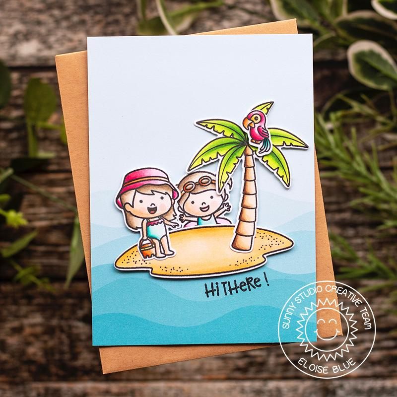 "Sunny Studio Stamps Coastal Cuties ""Hi There"" Island Beach Card"