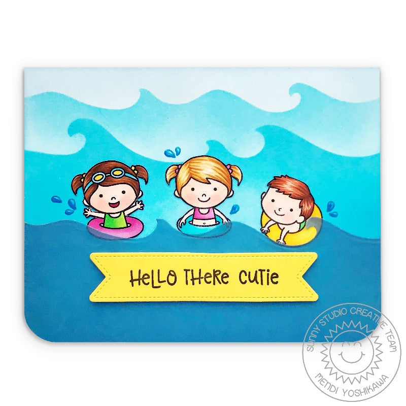 Sunny Studio Stamps Coastal Cuties Hello There Floaties Kids with Waves Card