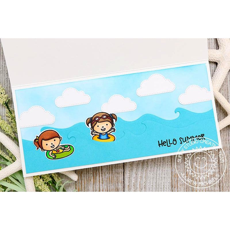 Sunny Studio Stamps Coastal Cuties and Beach Babies Girls in Floaties riding the waves Card