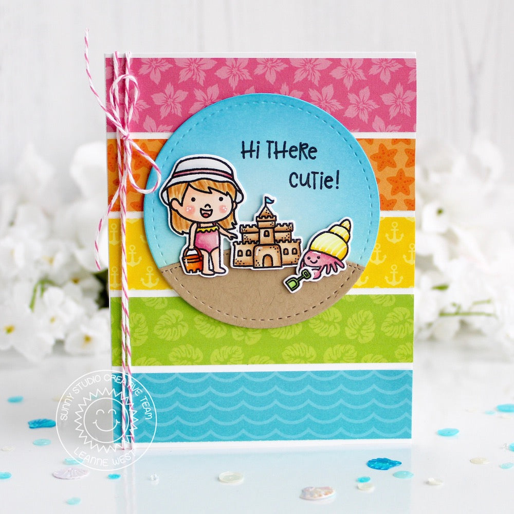 "Sunny Studio Stamps Coastal Cuties ""Hi There"" Colorblock Summer Rainbow Card"