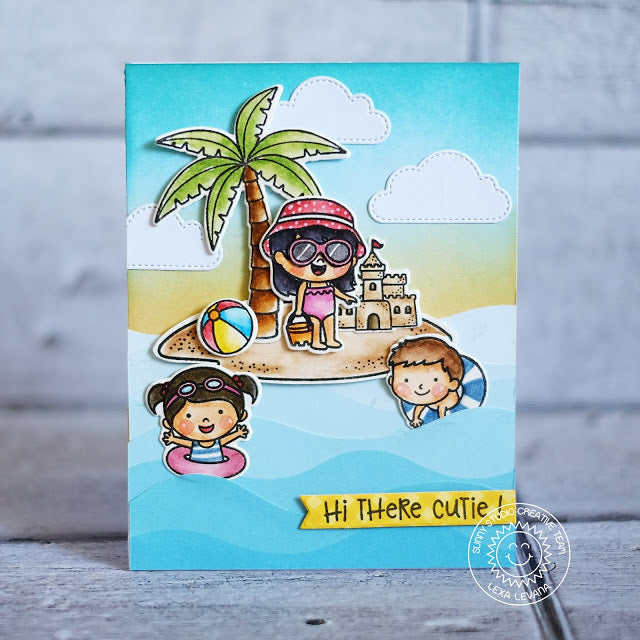 Sunny Studio Stamps Coastal Cuties Island Beach Themed Summer Card by Lexa Levana