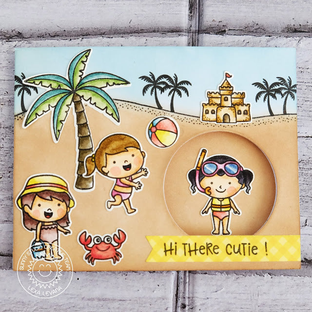 Sunny Studio Stamps Coastal Cuties Peek-a-boo sliding interactive beach card by Lexa Levana