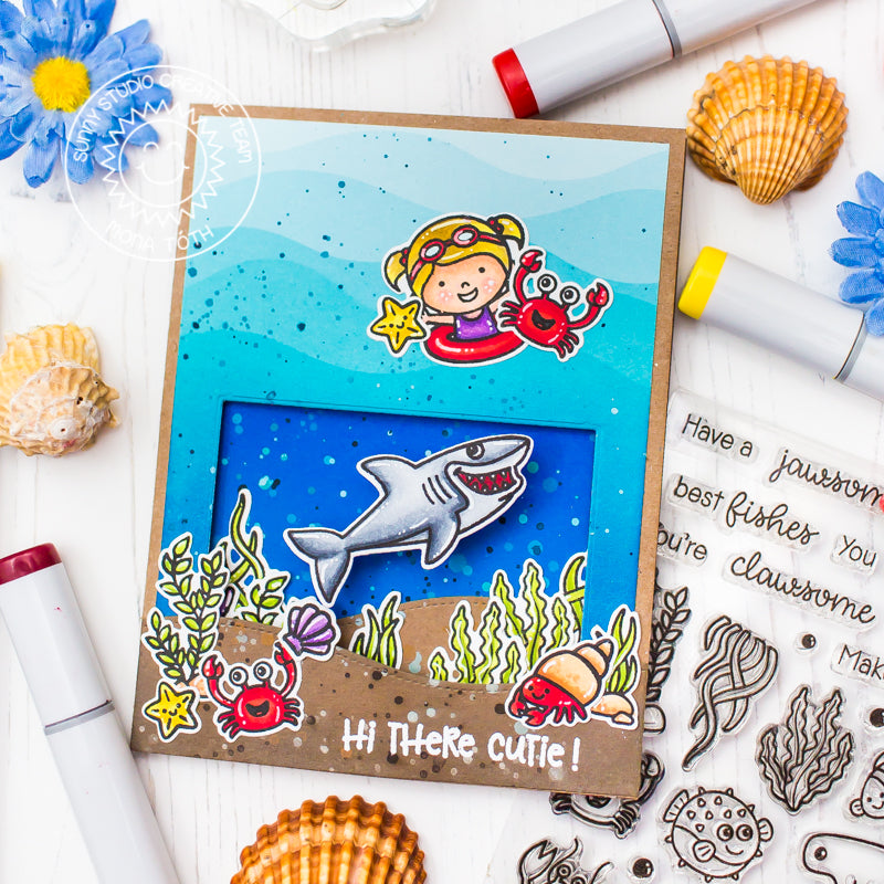 Sunny Studio Stamps Coastal Cuties Ocean Beach Themed Handmade Interactive Card