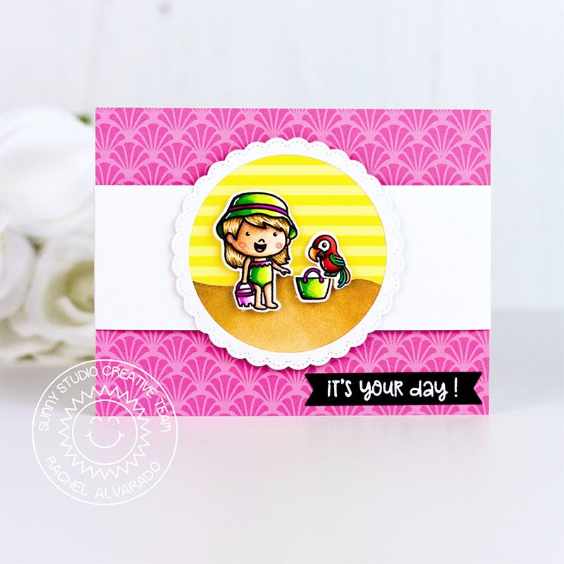 Sunny Studio Stamps Coastal Cuties Beach Girl with Sand Bucket Card