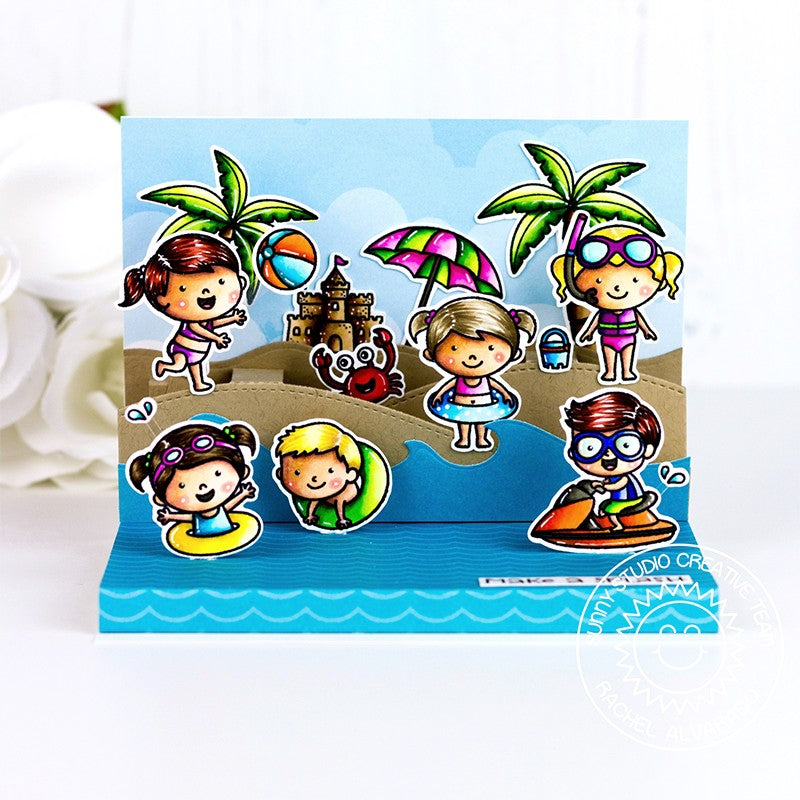 Sunny Studio Stamps Beach Babies & Coastal Cuties Ocean Themed Pop-up Interactive Card by Rachel
