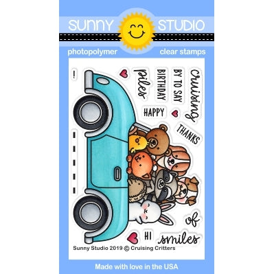 Sunny Studio Stamps Cruising Critters Retro Car with 8 Animals 3x4 Clear Photopolymer Stamp Set