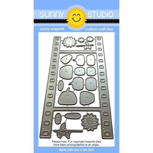 Sunny Studio Stamps Fall Flicks Filmstrip Steel Rule Die Set with layering pumpkin & sunflower dies