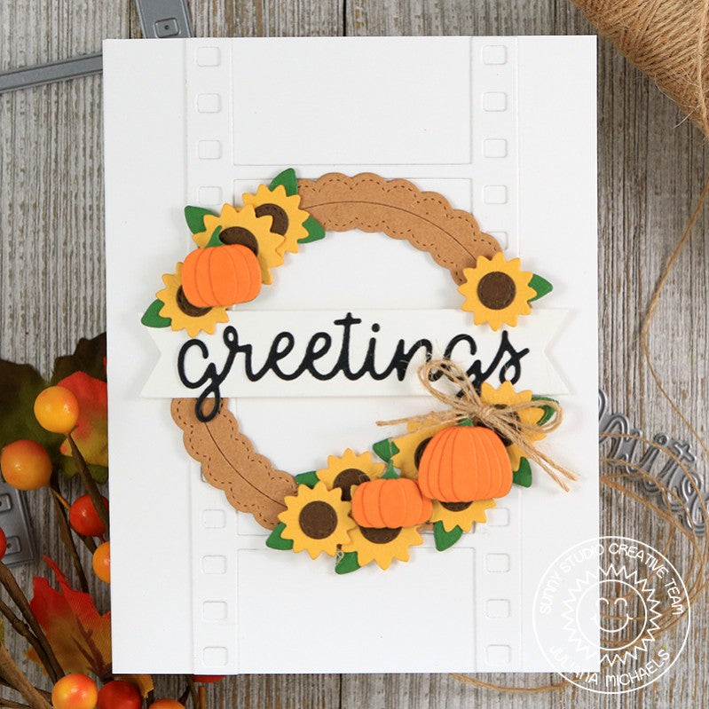 Sunny Studio Stamps Autumn Wreath Card using Fall Flicks Filmstrip Die
