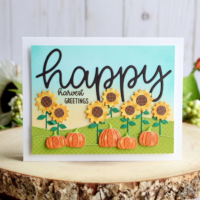 Sunny Studio Stamps Fall Happy Harvest Pumpkins & Sunflowers Card (using Fall Flicks Filmstrip Die)