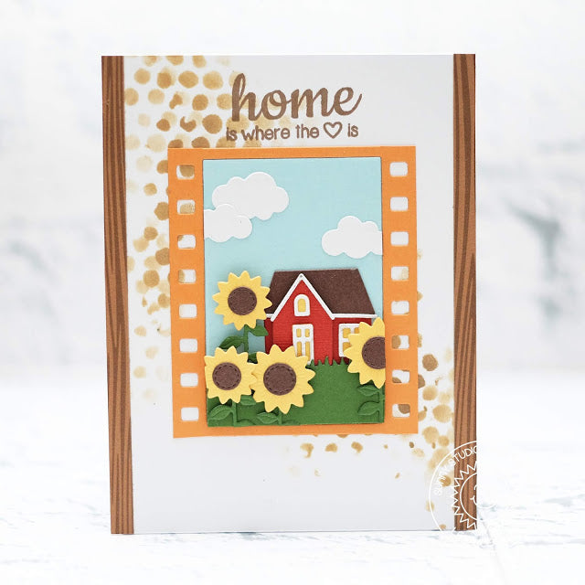 Sunny Studio Stamps Home Is Where The Heart Is Sunflowers & House Card with Frame using Fall Flicks Filmstrip dies.