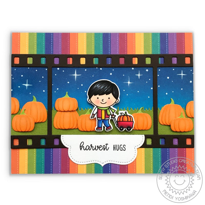 Sunny Studio Stamps Fall Flicks Filmstrip Pumpkin Patch with Night Sky Card