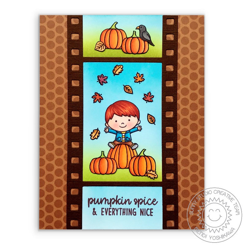 Sunny Studio Stamps Happy Harvest Leaves & Pumpkins Fall Card by Mendi Yoshikawa