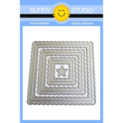 Sunny Studio Stamps Fancy Frames Stitched Scalloped Square Dies