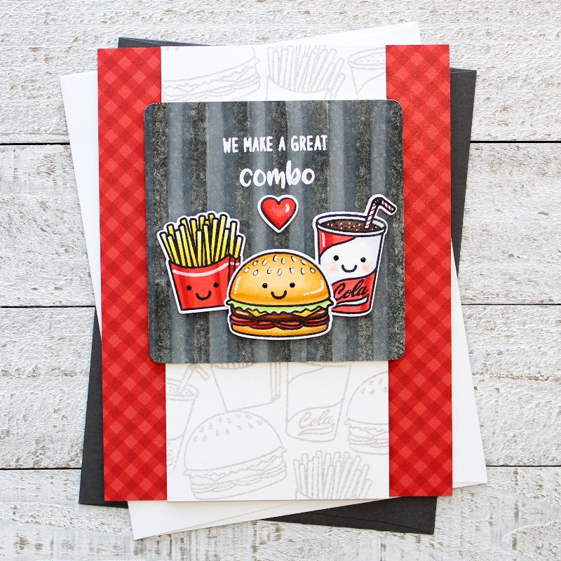 Sunny Studio Stamps Fast Food Fun Card featuring Red Classic Gingham 6x6 Patterned Paper