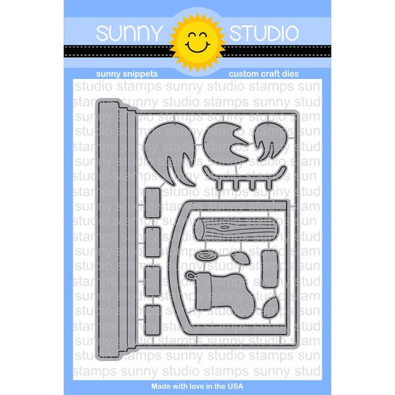 Sunny Studio Stamps Fireplace Shaped Christmas Card Steel Rule Die Set