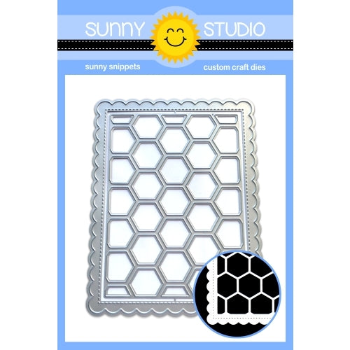 Sunny Studio Stamps Frilly Frames Hexagon Stitched Scalloped Rectangle Dies