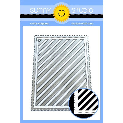 Sunny Studio Stamps Frilly Frames Stripes Stitched Scalloped Rectangle Metal Cutting Dies