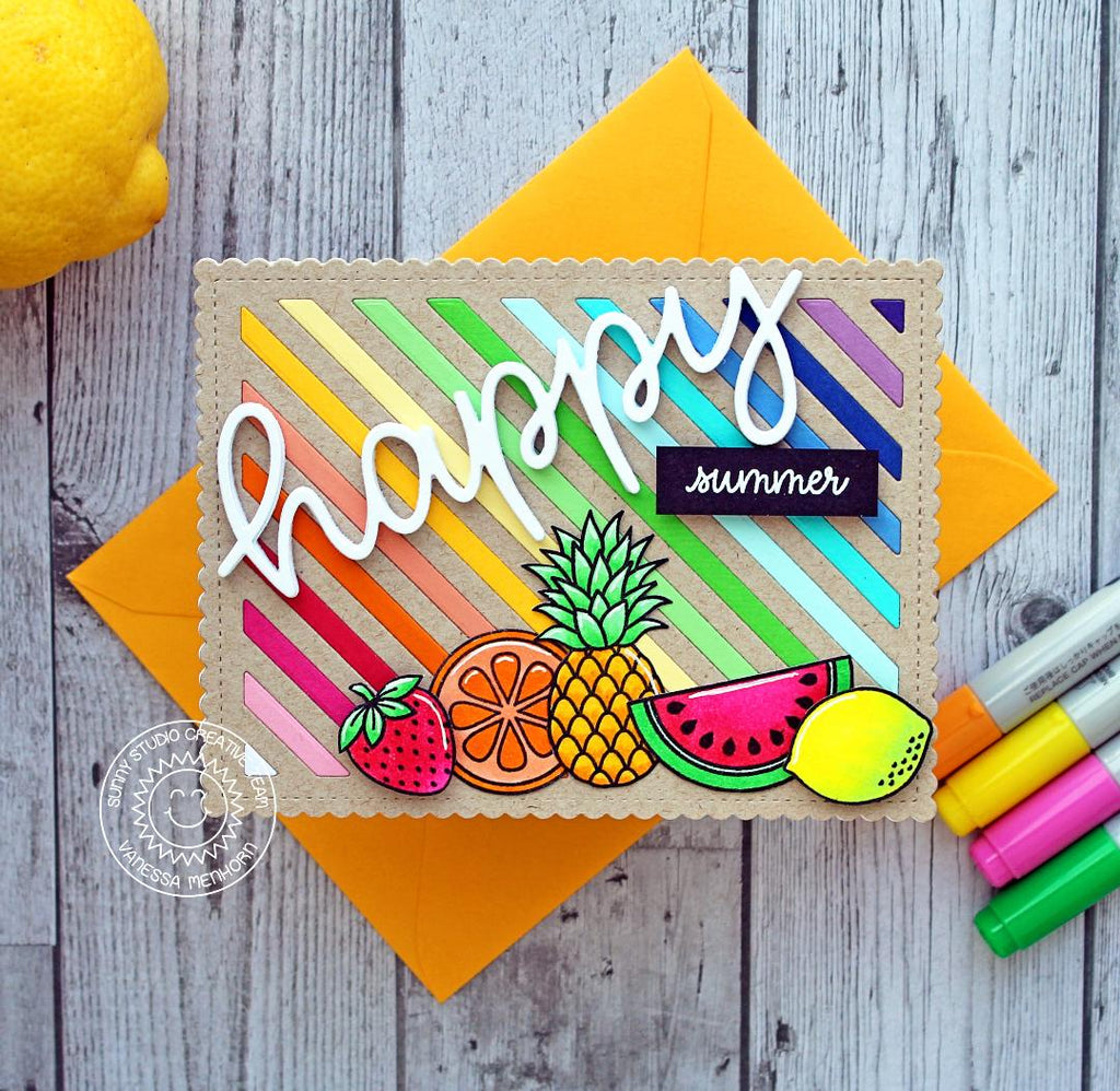 Sunny Studio Stamps Rainbow Striped Fresh & Fruity Fruit Themed Summer Card (using Frilly Frames Stripes Die)