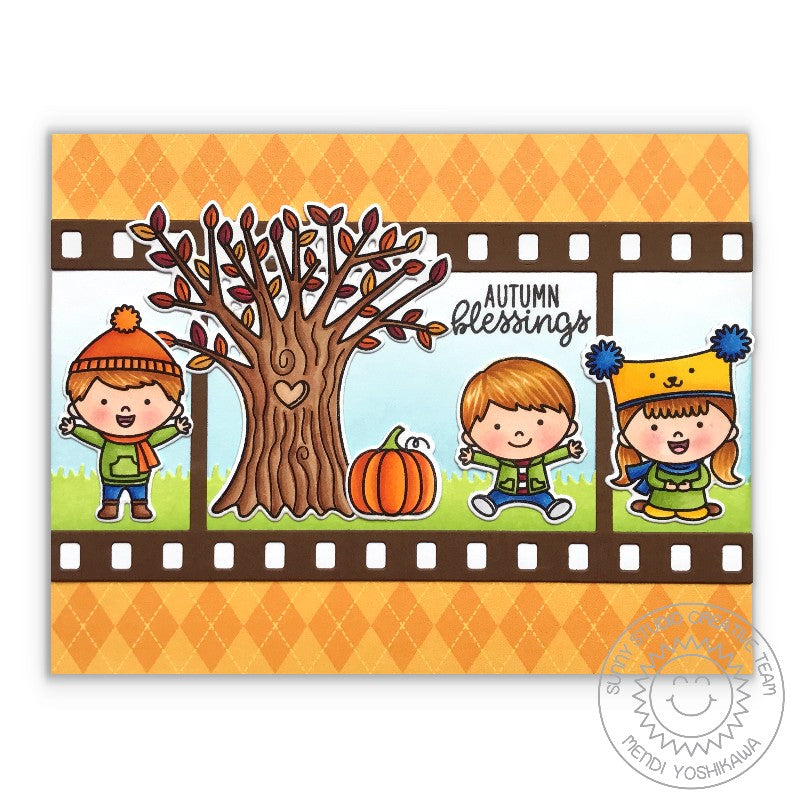 Sunny Studio Stamps Fall Flicks Filmstrip Autumn Blessings Kids with Tree Card
