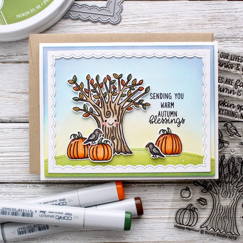 Sunny Studio Happy Harvest Fall Tree with Pumpkins Scene Card