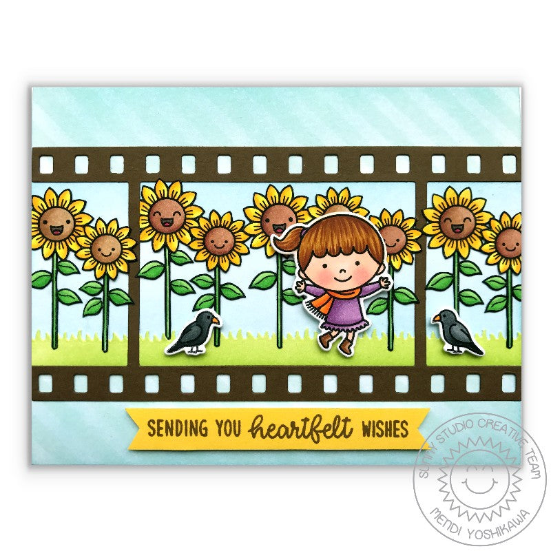 Sunny Studio Stamps Happy Harvest Smiling Sunflowers Fall Card