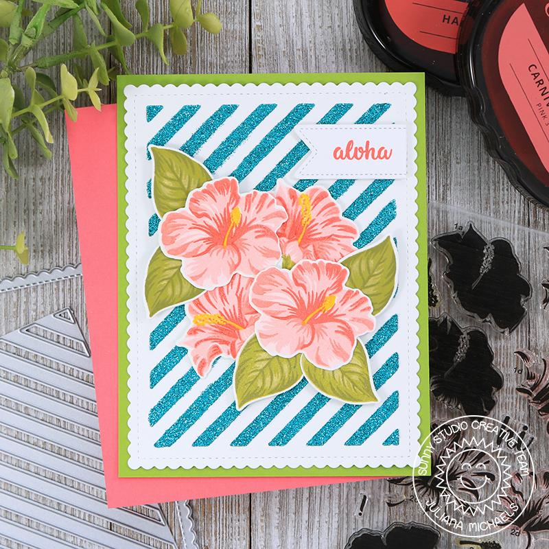 Sunny Studio Stamps Hawaiian Hibiscus Aloha Card (using Frilly Frames Stripes Dies as a stencil)