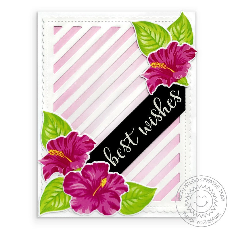 Sunny Studio Stamps Hawaiian Hibiscus Best Wishes Wedding Card (using Frilly Frames Stripes Dies)