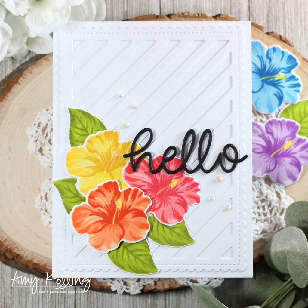 Sunny Studio Stamps Hawaiian Hibiscus Striped Hello Card (using Frilly Frames Stripes Die)
