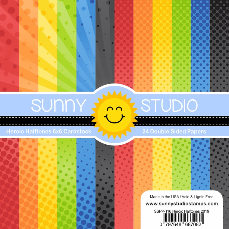 Sunny Studio Stamps Heroic Halftones 6x6 Primary Dots Double Sided Patterned Paper Pack- 24 sheets