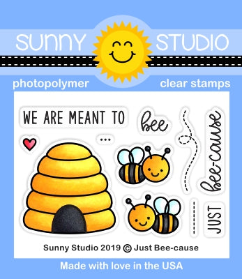 Sunny Studio Stamps Just Bee-cause We Are Meant To Bee Honey Bee & Beehive 2x3 Clear Photopolymer Stamp Set