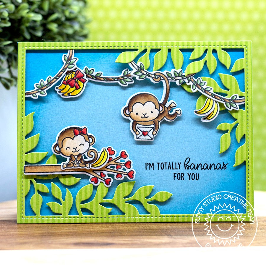 Sunny Studio Stamps Monkeys in the Jungle Card by Eloise (using green striped paper from Dots & Stripes Pastels 6x6 Paper Pack)