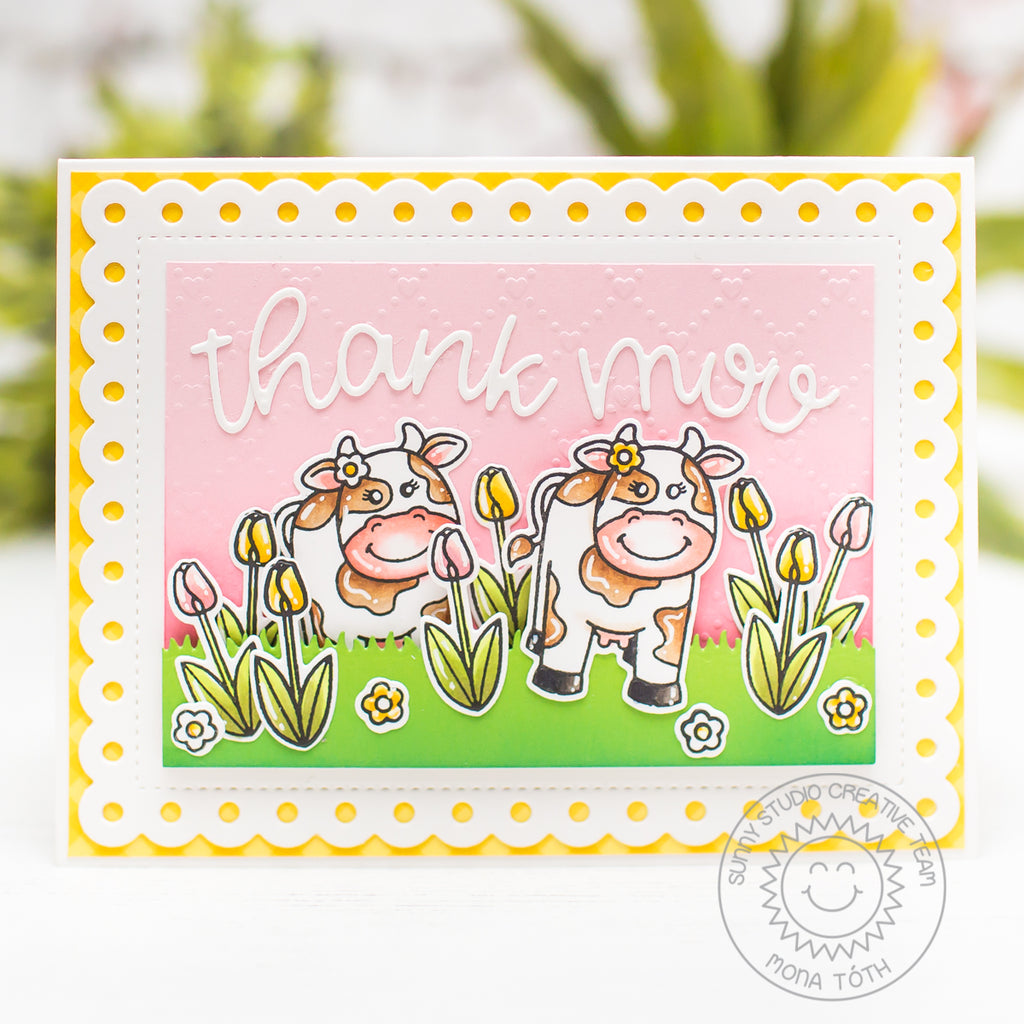 Sunny Studio Stamps Miss Moo Cow Thank You Card by Mona Toth