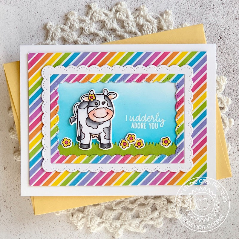Sunny Studio Stamps Miss Moo Cow Themed Rainbow Striped Handmade Card by Angelica