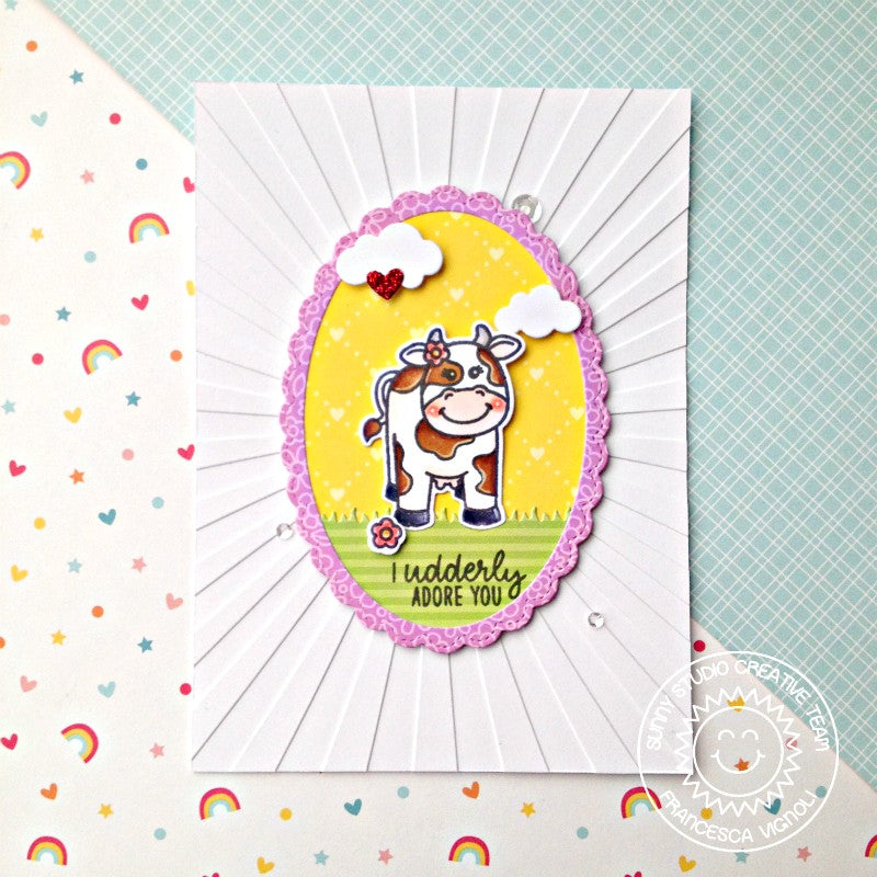 Sunny Studio Stamps Miss Moo Cow Udderly Adore You Valentine's Day Card