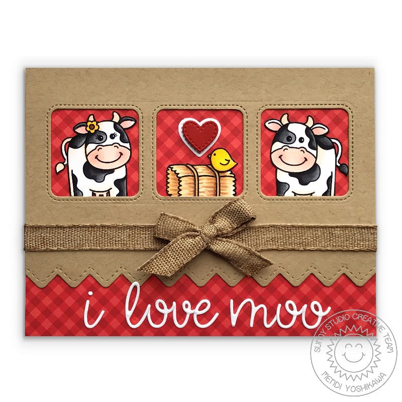 Sunny Studio I Love Moo Valentine's Day Cow Card (using Miss Moo 2x3 Stamps)