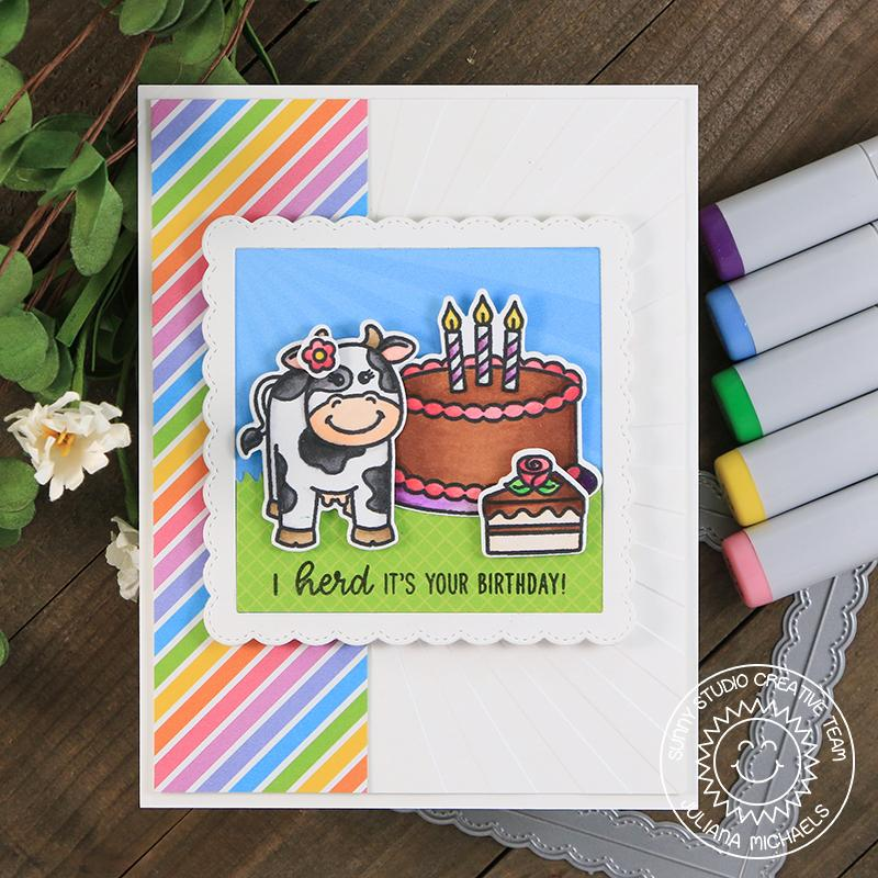 Sunny Studio Stamps Miss Moo Cow Themed Rainbow Birthday Card by Juliana Michaels