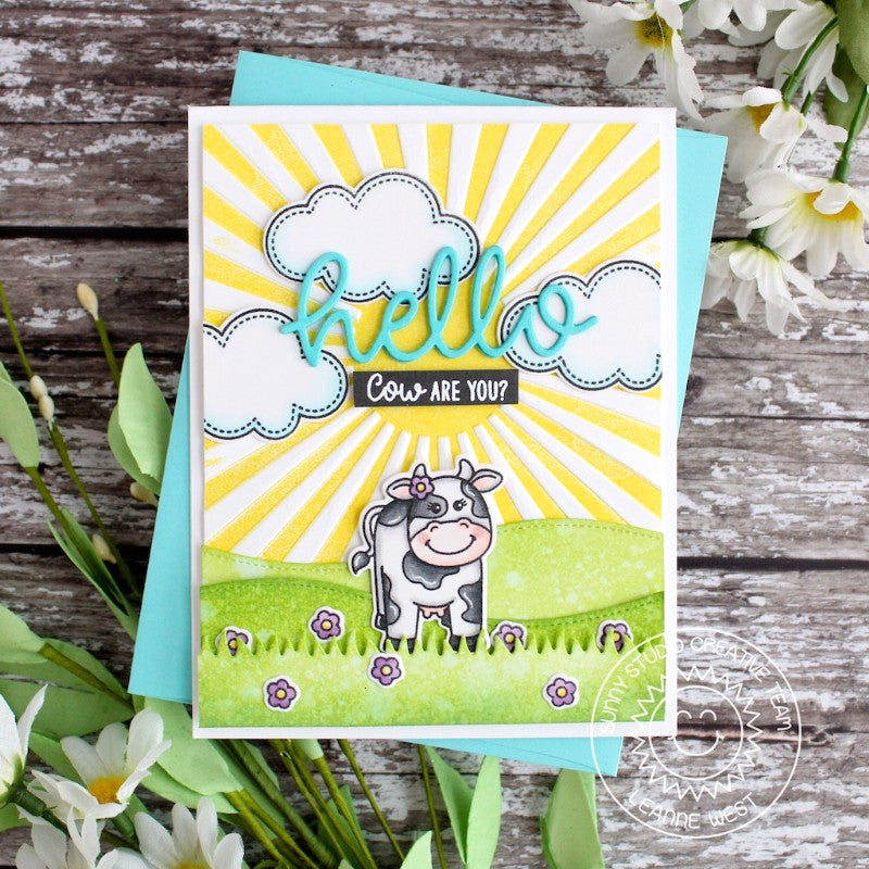Sunny Studio Stamps Cow on the Farm Sun Ray Card featuring Sunburst 6x6 Embossing Folder
