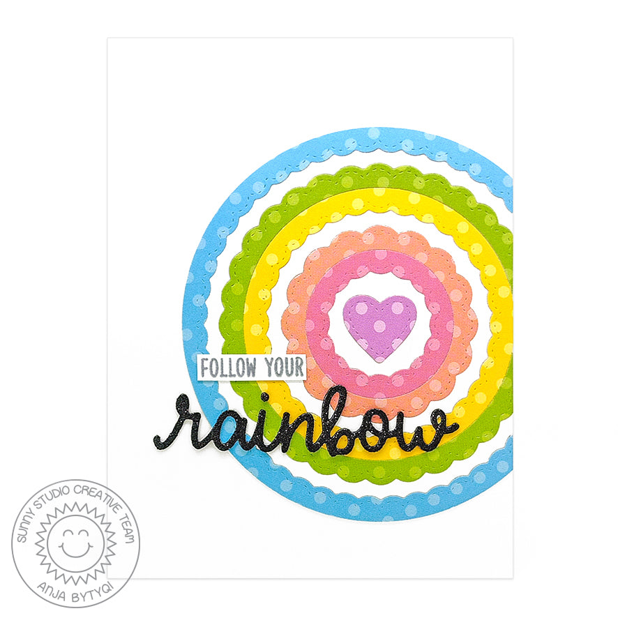 Sunny Studio Stamps Rainbow Circle Bullseye Card (using Dots & Stripes Pastels 6x6 Paper)